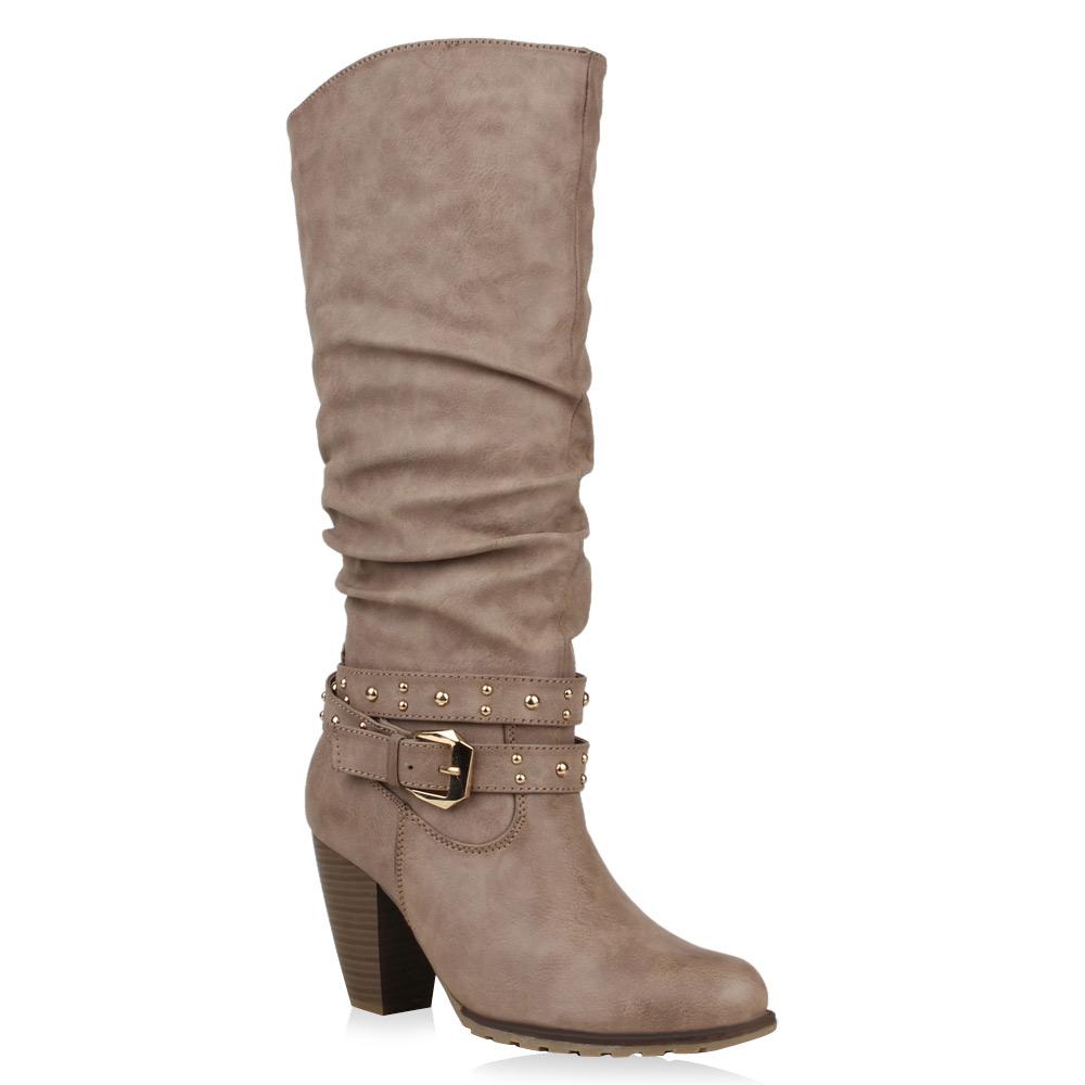 Damen Stiefel High Heels - Taupe