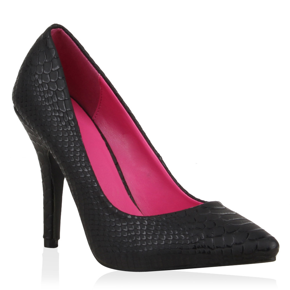 Damen Pumps High Heels - Schwarz Snake