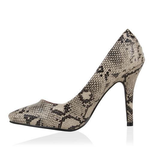 Damen Pumps High Heels - Khaki Snake