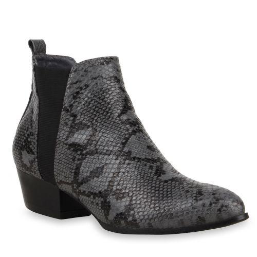 Damen Stiefeletten Chelsea Boots - Grau Snake