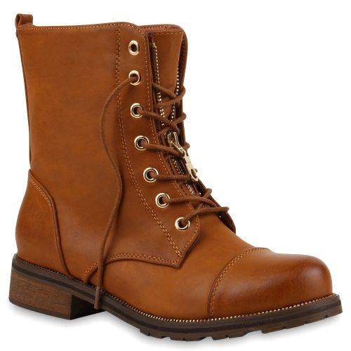 Damen Stiefeletten Worker Boots - Hellbraun