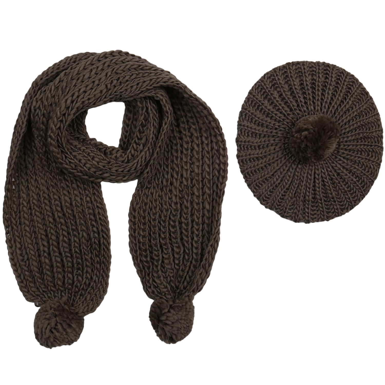 Damen Strickschal mit Mütze - Braun