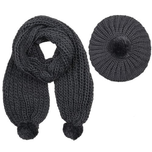 Damen Strickschal mit Mütze - Grau