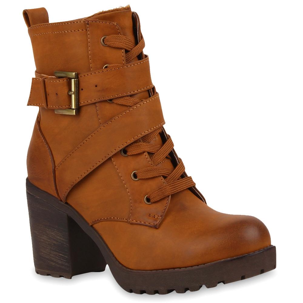 Damen Stiefeletten Plateau Boots - Hellbraun