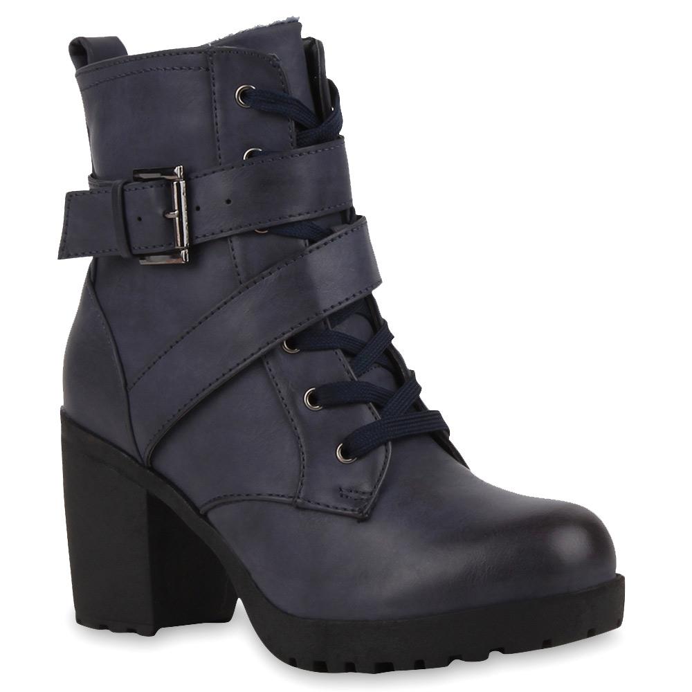 Damen Stiefeletten Plateau Boots - Dunkelblau