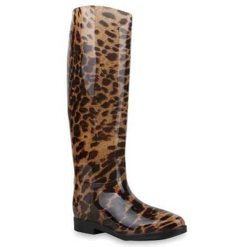 Damen Stiefel Gummistiefel - Schwarz Leopard