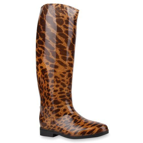 Damen Stiefel Gummistiefel - Braun Leopard
