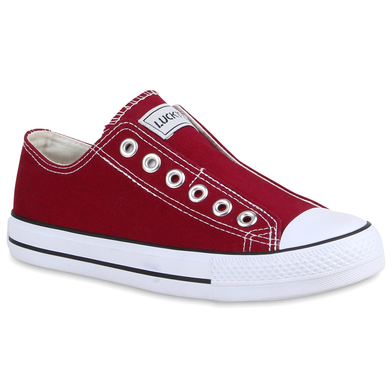 Damen Sneaker Slip Ons - Burgund