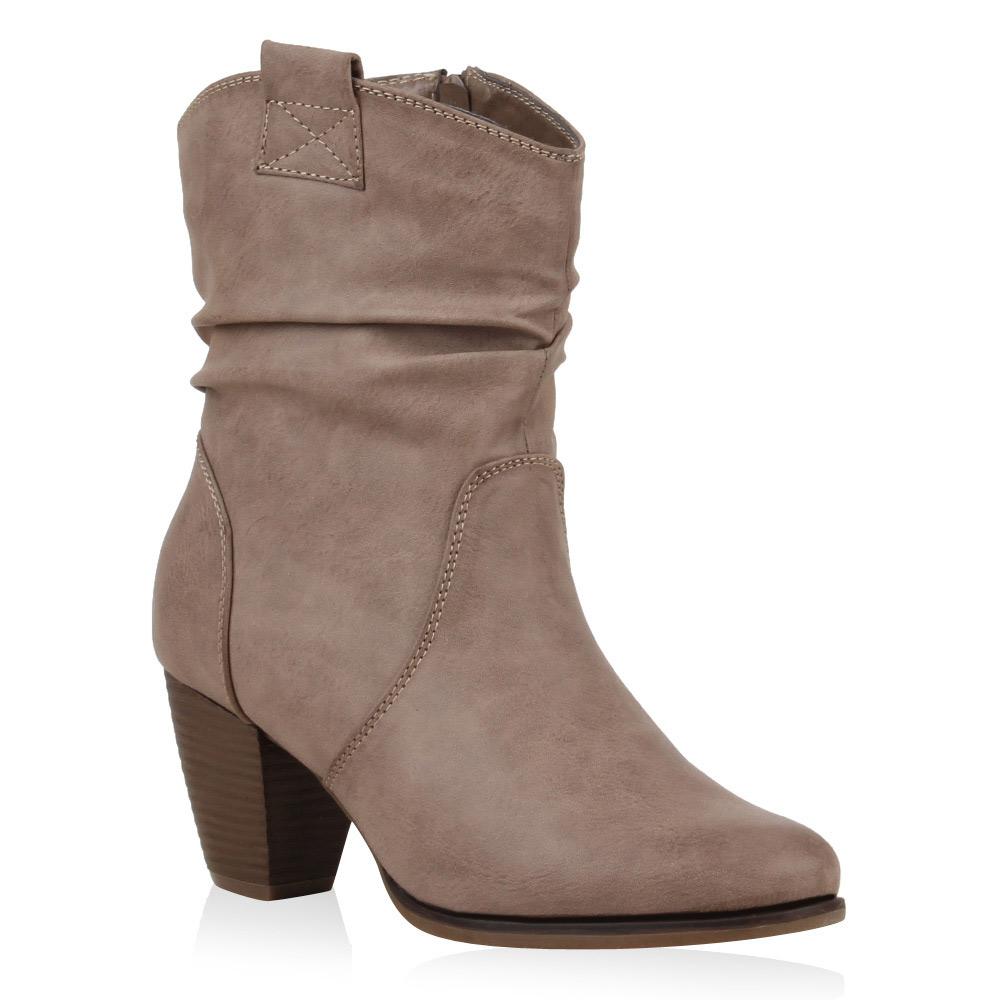 Damen Stiefeletten Cowboy Boots - Taupe