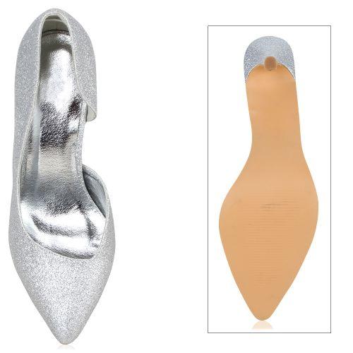 Damen Pumps Spitze Pumps - Silber