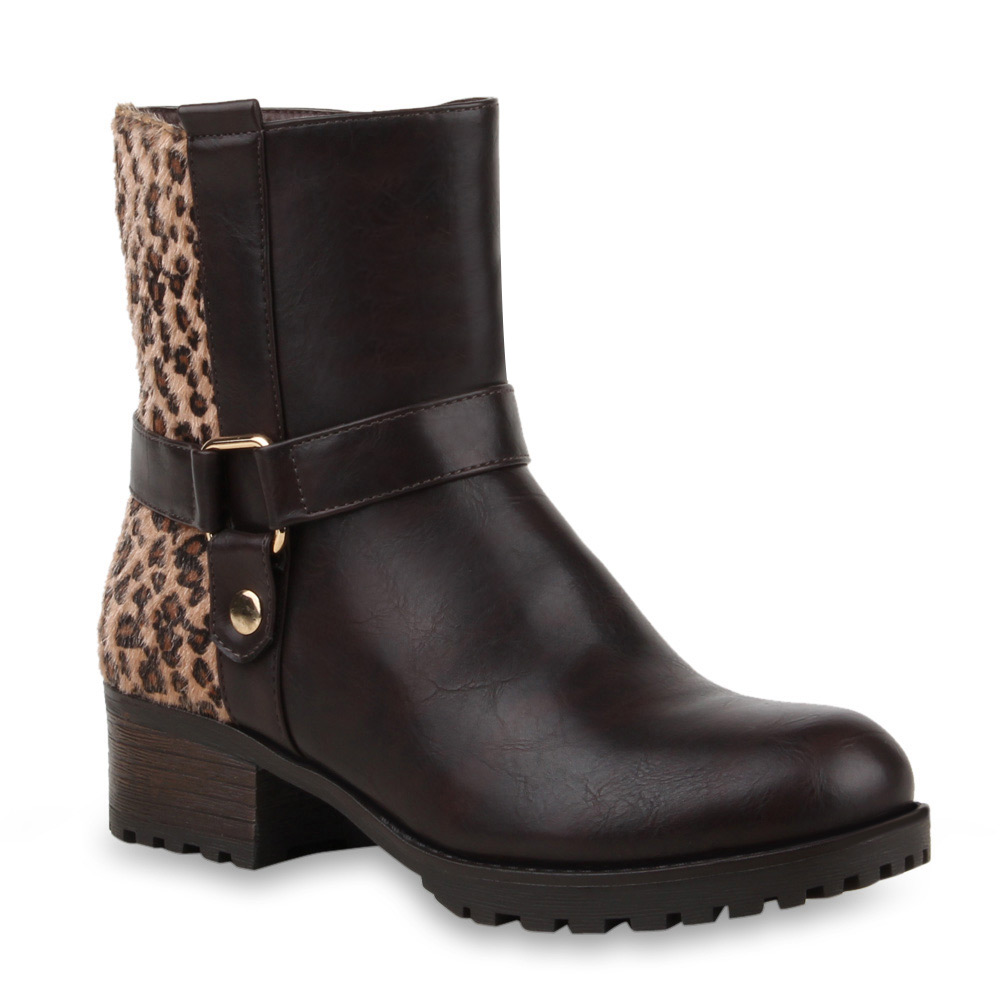 Damen Stiefeletten Biker Boots - Braun Leopard
