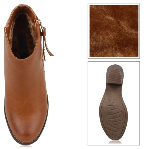 Damen Stiefeletten Ankle Boots - Braun