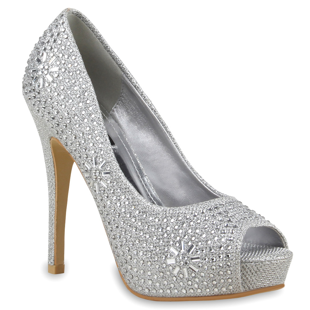 Damen Pumps Peeptoes - Silber