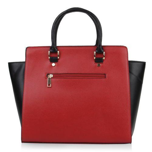 Damen Handtasche - Burgund Schwarz