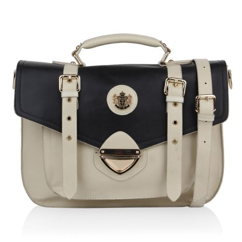Damen Messenger Bag - Creme Schwarz