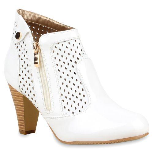Damen Stiefeletten Ankle Boots - Weiß