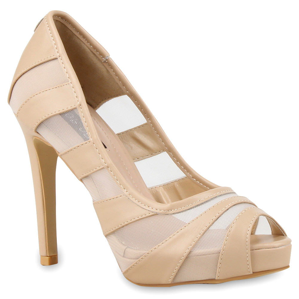 Damen Pumps Peeptoes - Nude
