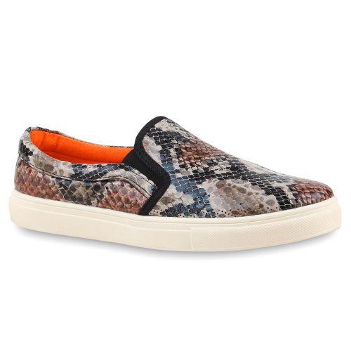 Damen Sneaker Slip Ons - Schwarz Snake