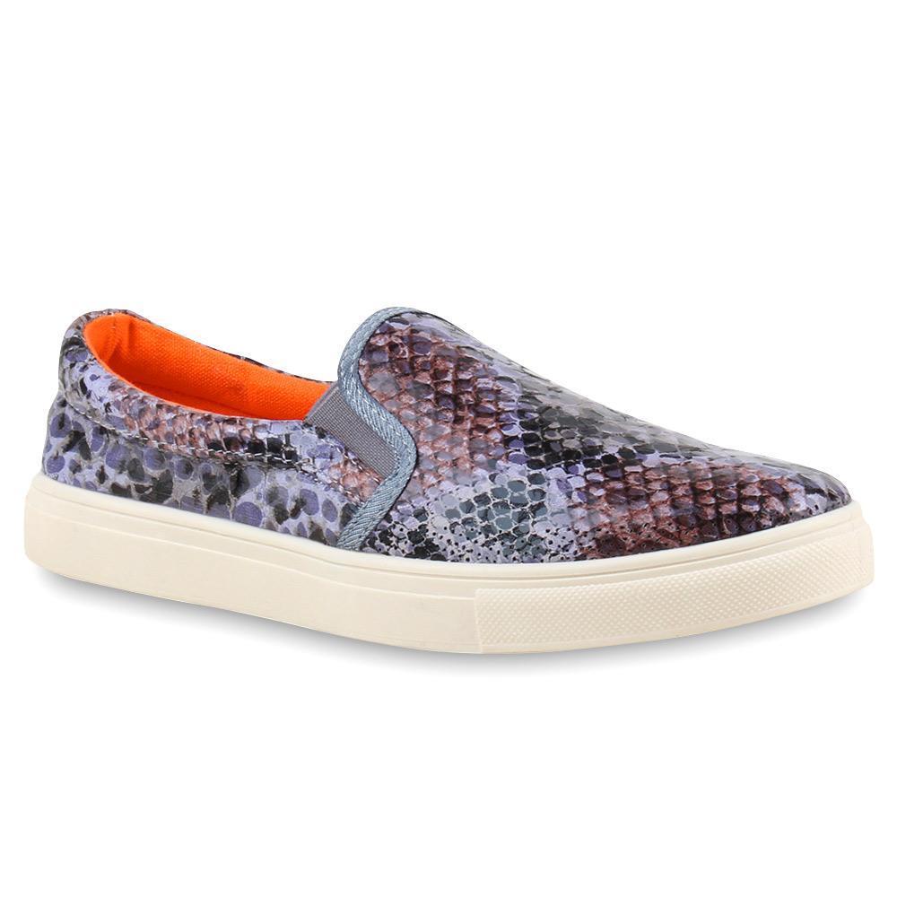 Damen Sneaker Slip Ons - Grau Snake