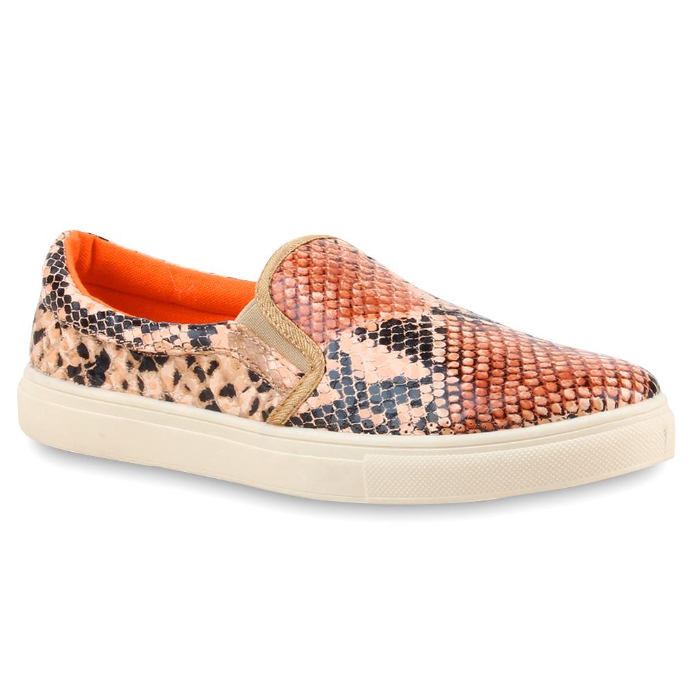Damen Sneaker Slip Ons - Hellbraun Snake