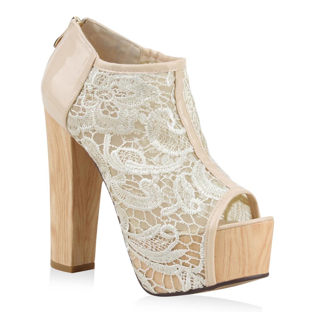 Damen Stiefeletten Plateau Boots - Nude