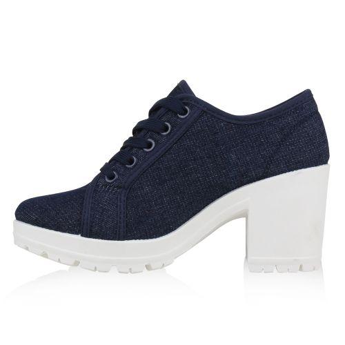 Damen Stiefeletten Ankle Boots - Dunkelblau Weiß