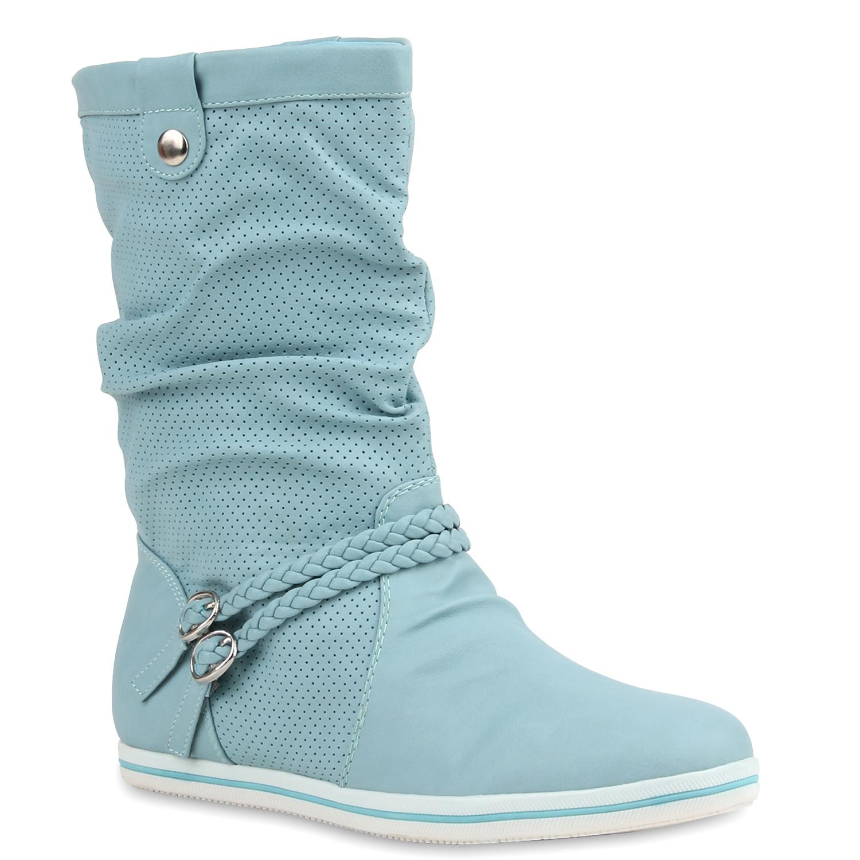 Damen Stiefel Schlupfstiefel - Marineblau