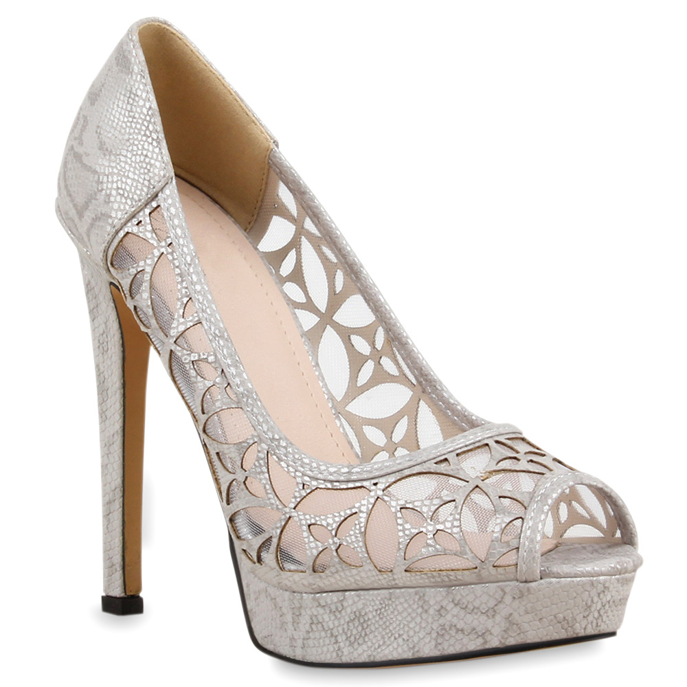 Damen Pumps Peeptoes - Hellgrau