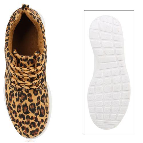 Damen Sportschuhe Laufschuhe - Hellbraun Leopard