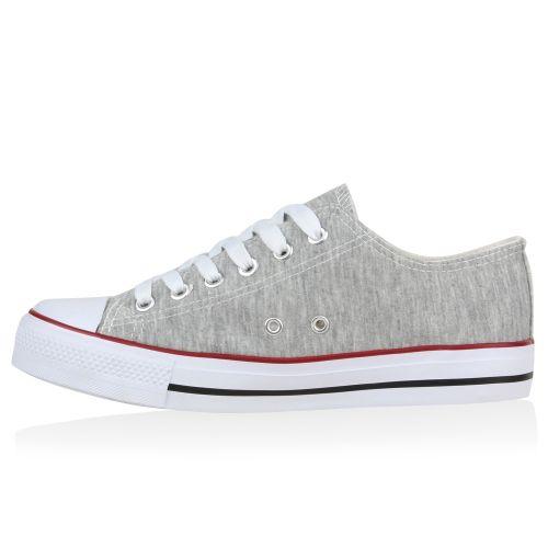 Damen Sneaker low - Hellgrau Rot