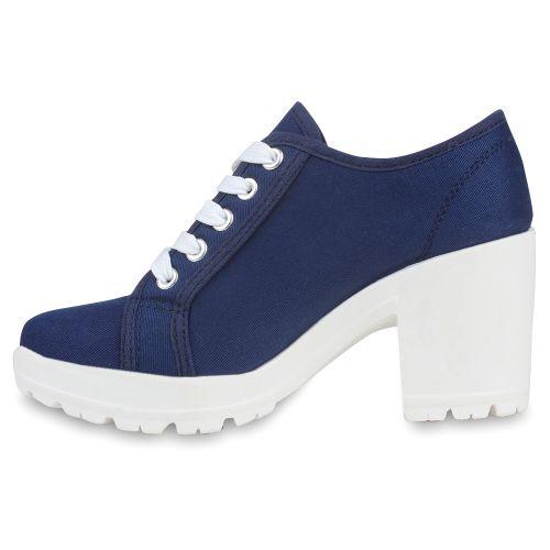 Damen Stiefeletten Ankle Boots - Dunkelblau Denim