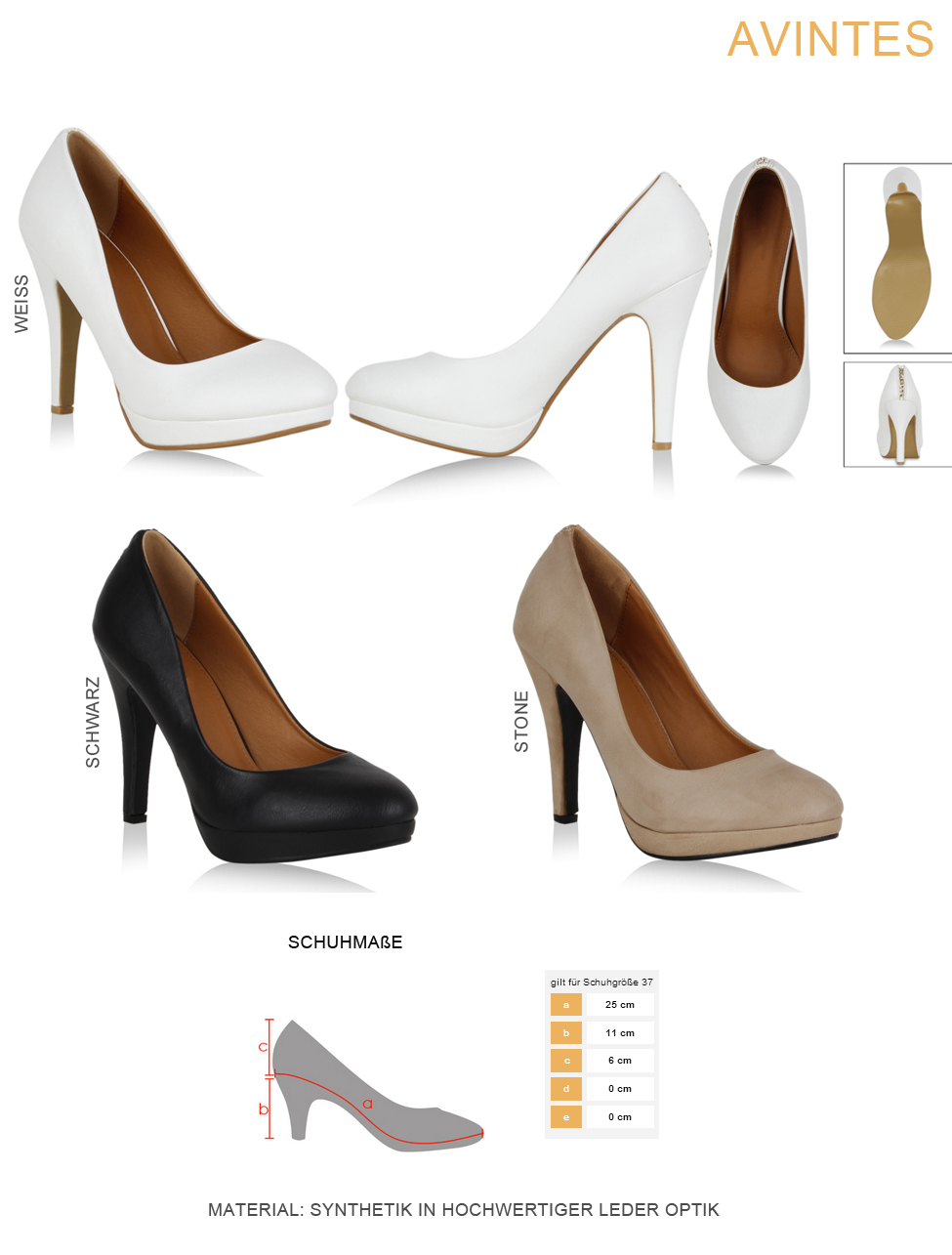 4737a224617aef Moderne Damen Plateau Pumps High Heels Stilettos 99418 Schuhe
